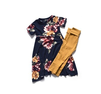 Little Sprout One-size pants + t shirt dress™ Flower Garden and Ginger