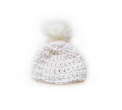 Crocheted Touque with vegan pop pom - Hat - White