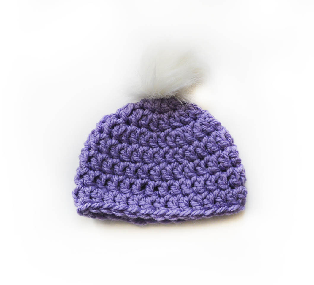 Crocheted Touque with vegan pop pom - Hat