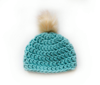 Crocheted Touque with vegan pop pom - Hat - Sage Green