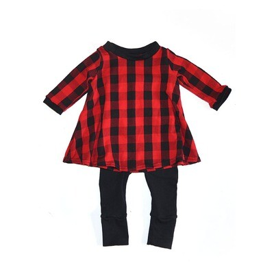 Little Sprout One-size pants + Long Sleeve T shirt dress™ Red Buffalo Plaid outfit