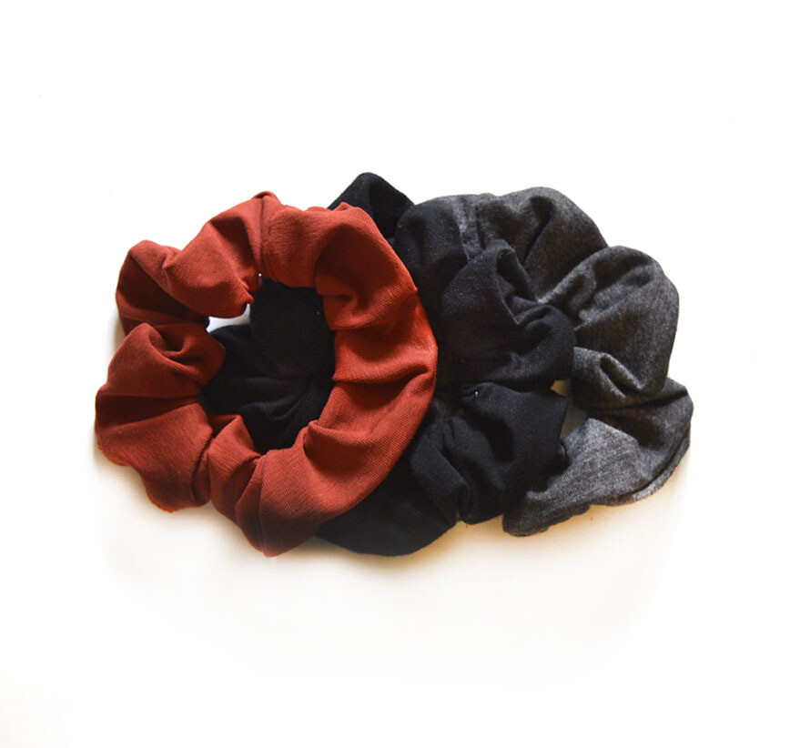 Zero Waste Scrunchy Set - Solids - Terra Cotta, Grey, Black