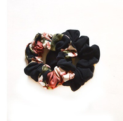 Zero Waste Scrunchy Set - Rosie & Solid Black