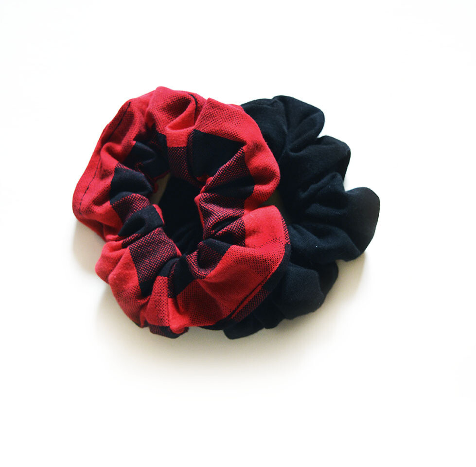 Zero Waste Scrunchy Set - Black & Red Buffalo Plaid