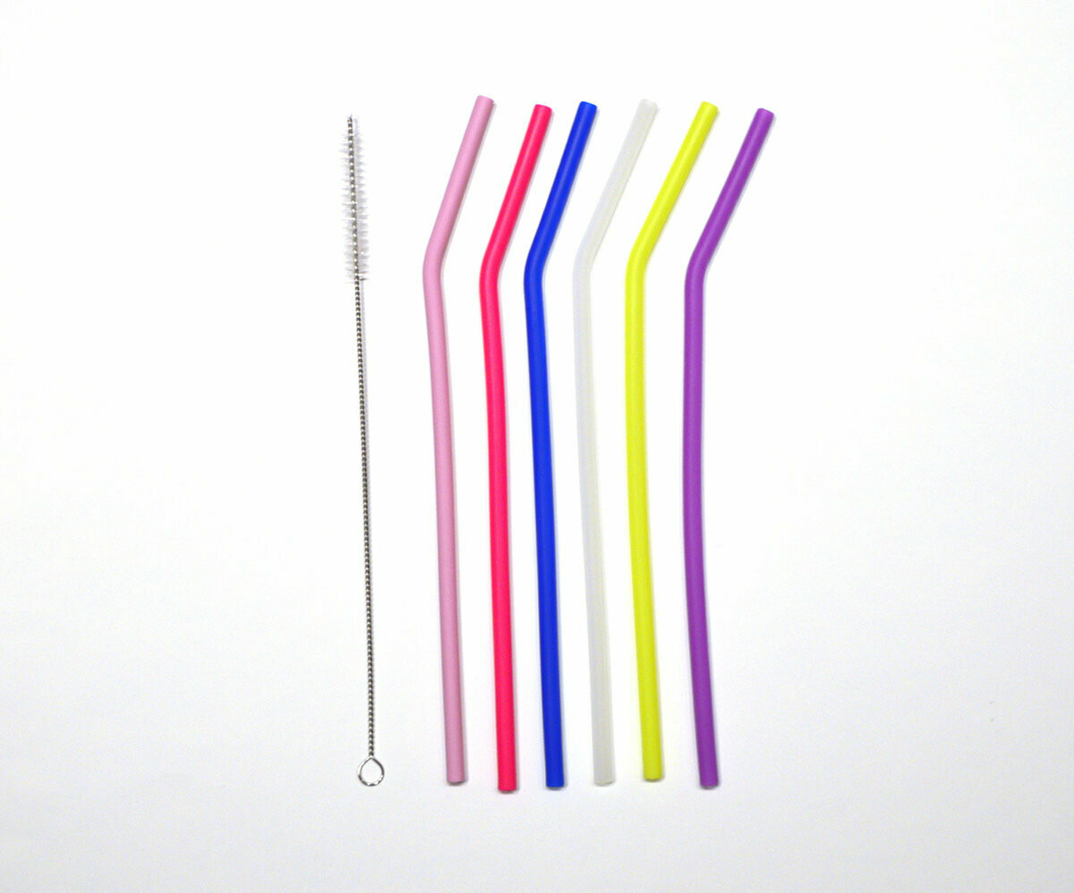 Skinny Silicon Straws Set of 6 With Cleaning Brush