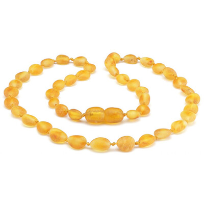 Baltic Pines™  Baby Size Healing Amber Teething Bracelet or Necklace - Honey Raw