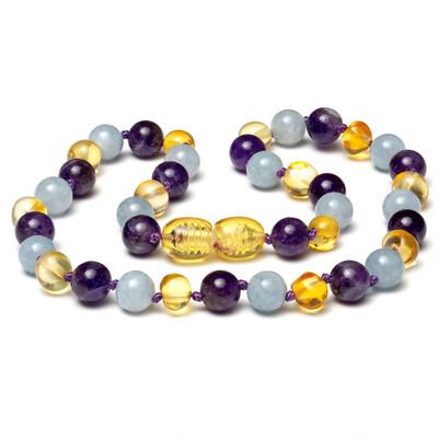 Baltic Pines™ Gemstone & Baltic Amber Teething Necklace -  Amber & Amethyst & Aquamarine