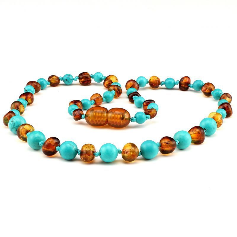 Baltic Pines™ Gemstone & Baltic Amber Teething Necklaces 00073