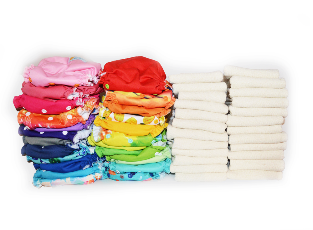 Easy Peasies® The Double Up Kit™ - 24 One Size Cloth Pocket Diaper + Inserts - Starter Pack Stash 00237