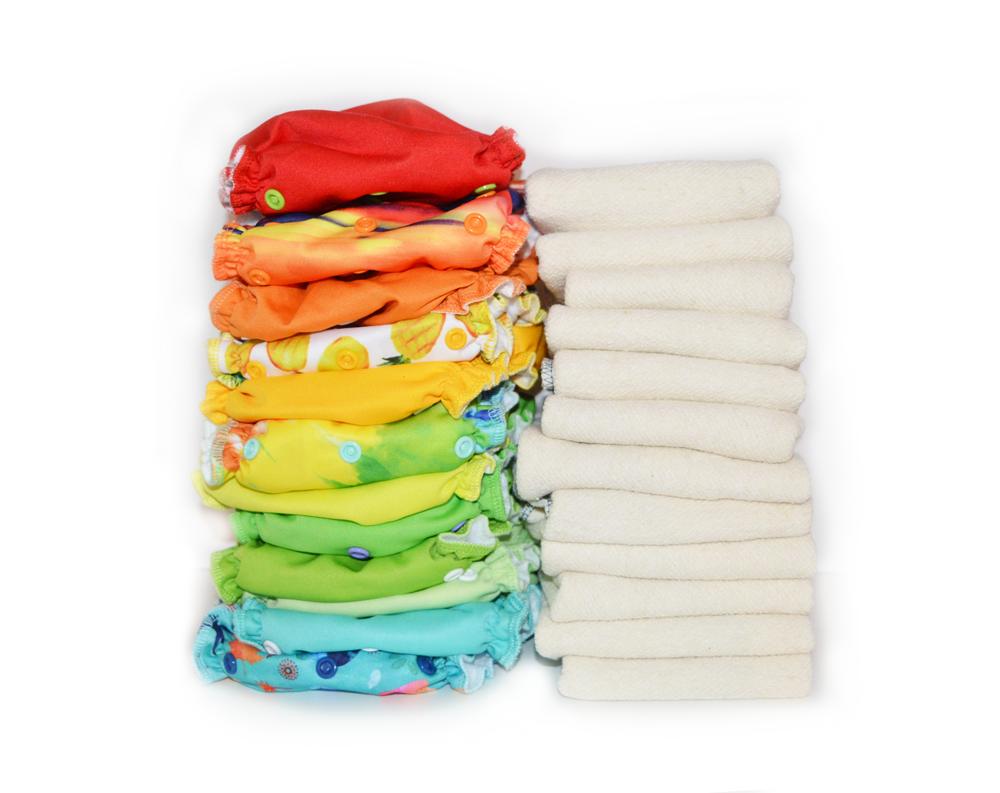 Easy Peasies® The Full Kit™ - 12 One Size Cloth Pocket Diaper + Inserts - Starter Pack Stash