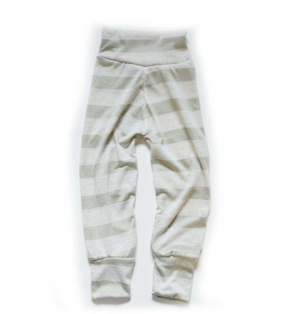 Little Sprout Pants™ Avocado Stripe - Slim Fit Lightweight 00412