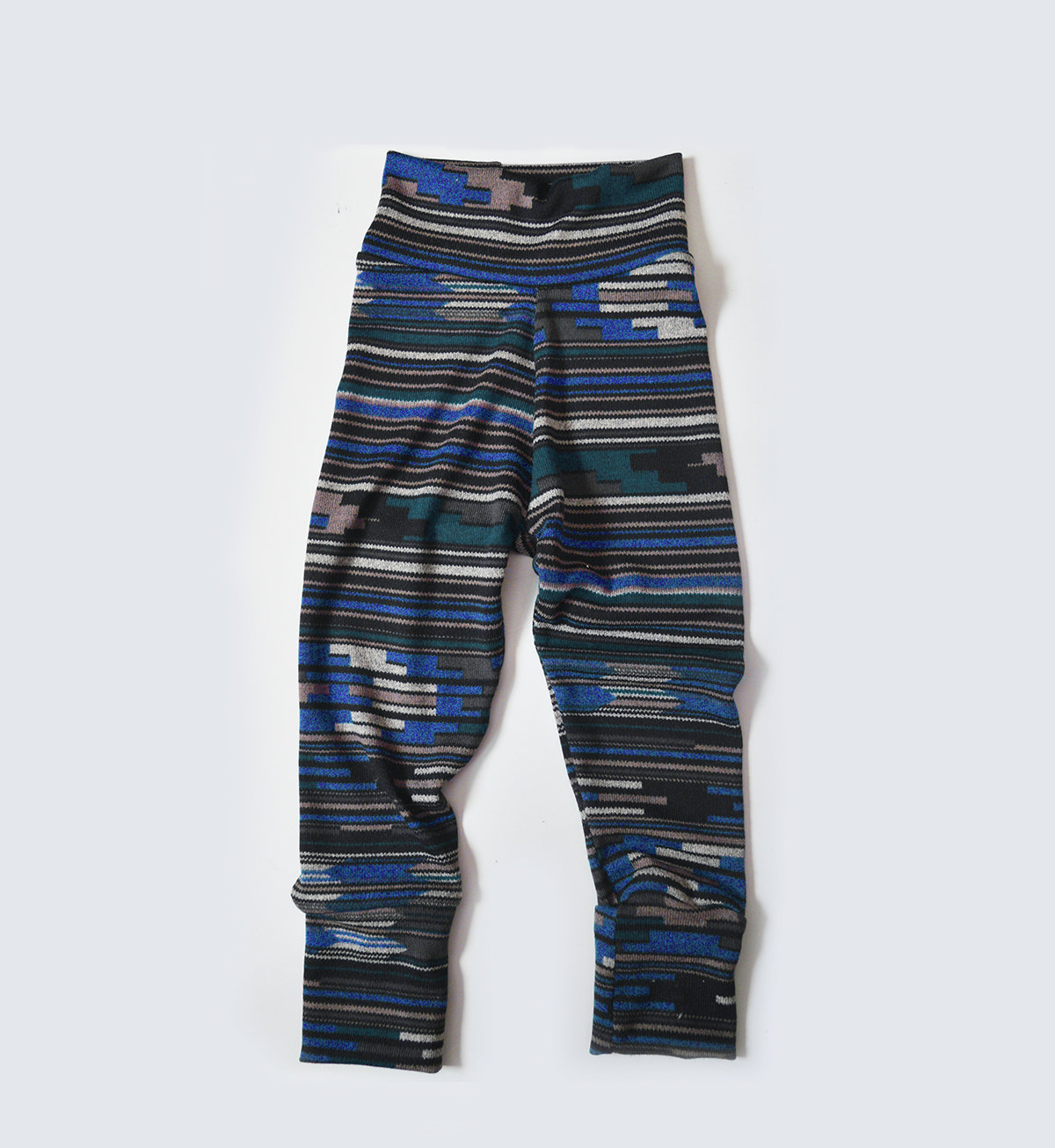 Little Sprout Pants™ Blue Knit Tribal Abstract - Slim Fit 00458