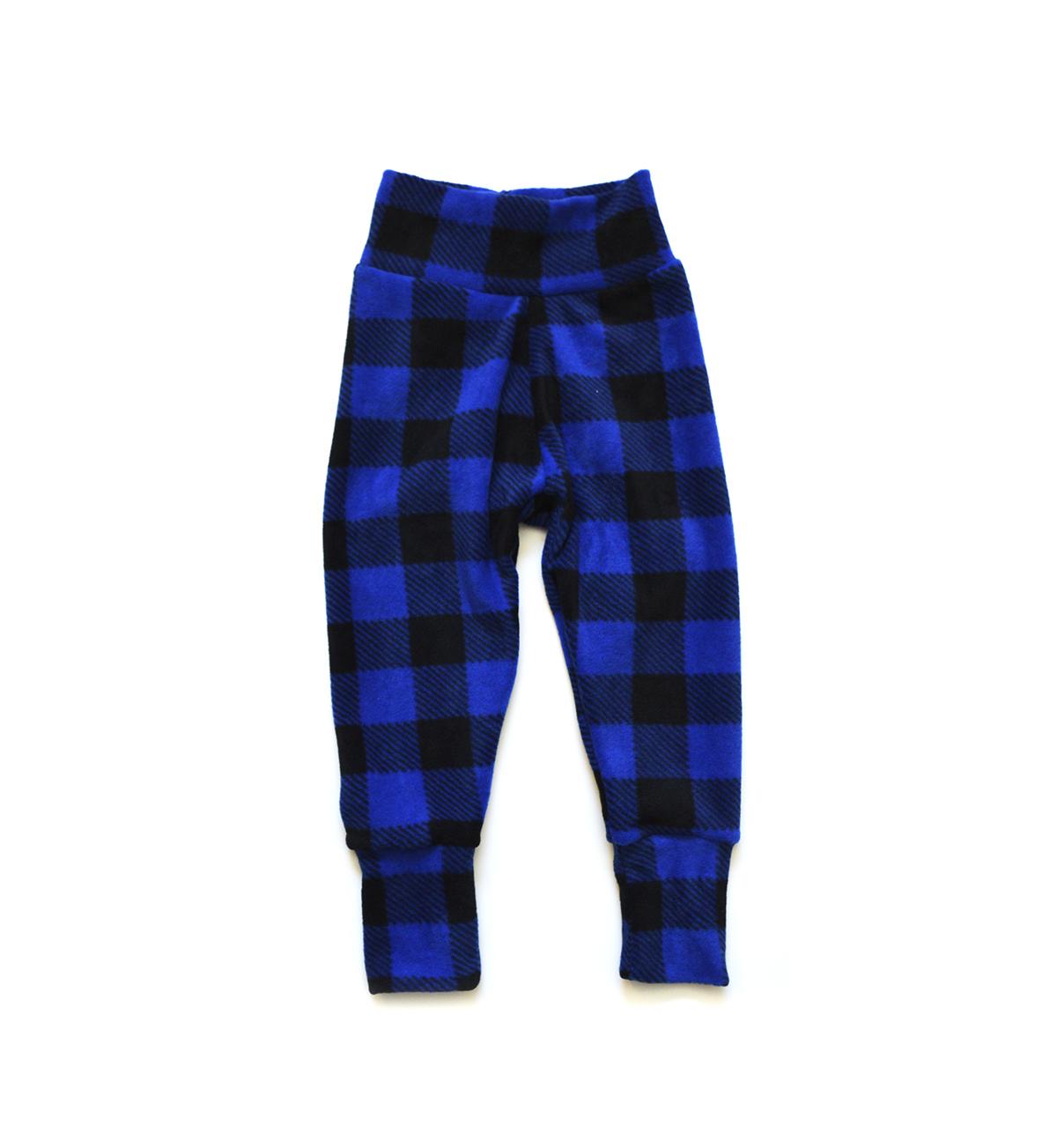 Little Sprout Pants™ Blue Buffalo Plaid - Fleece 00516