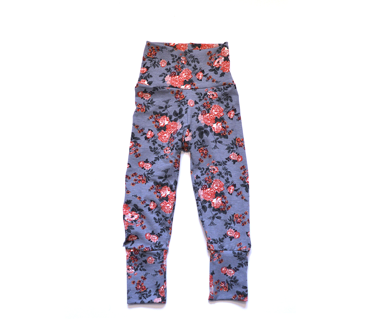 Little Sprout Pants™ Floral on Grey 00914