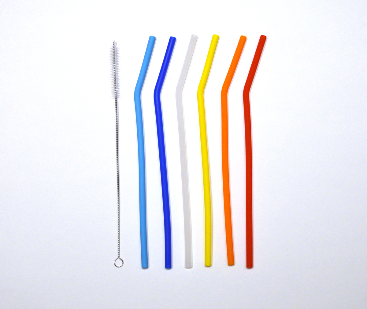 Skinny Silicon Straws Set of 6 With Cleaning Brush 00542