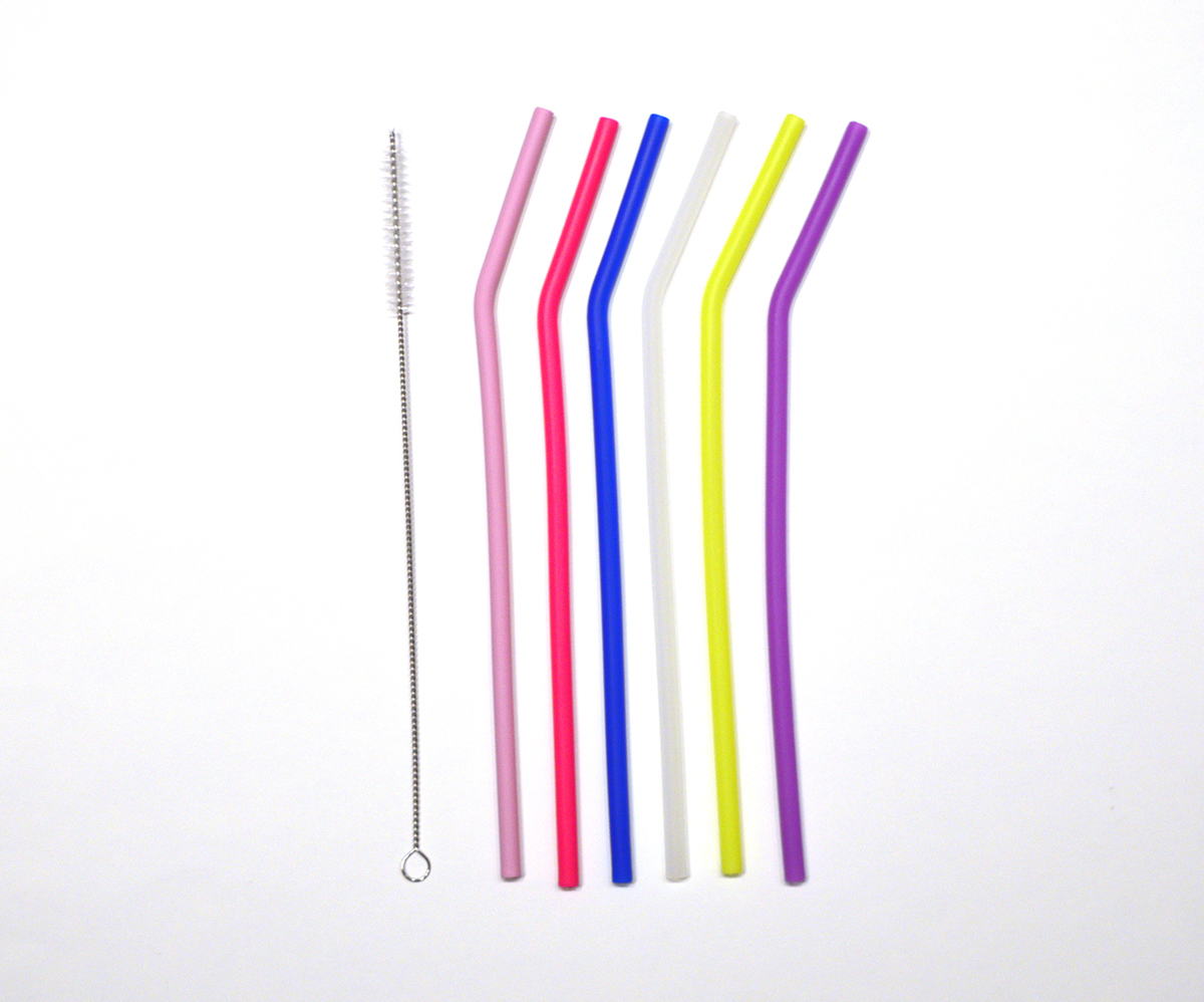 Skinny Silicon Straws Set of 6 With Cleaning Brush 00543