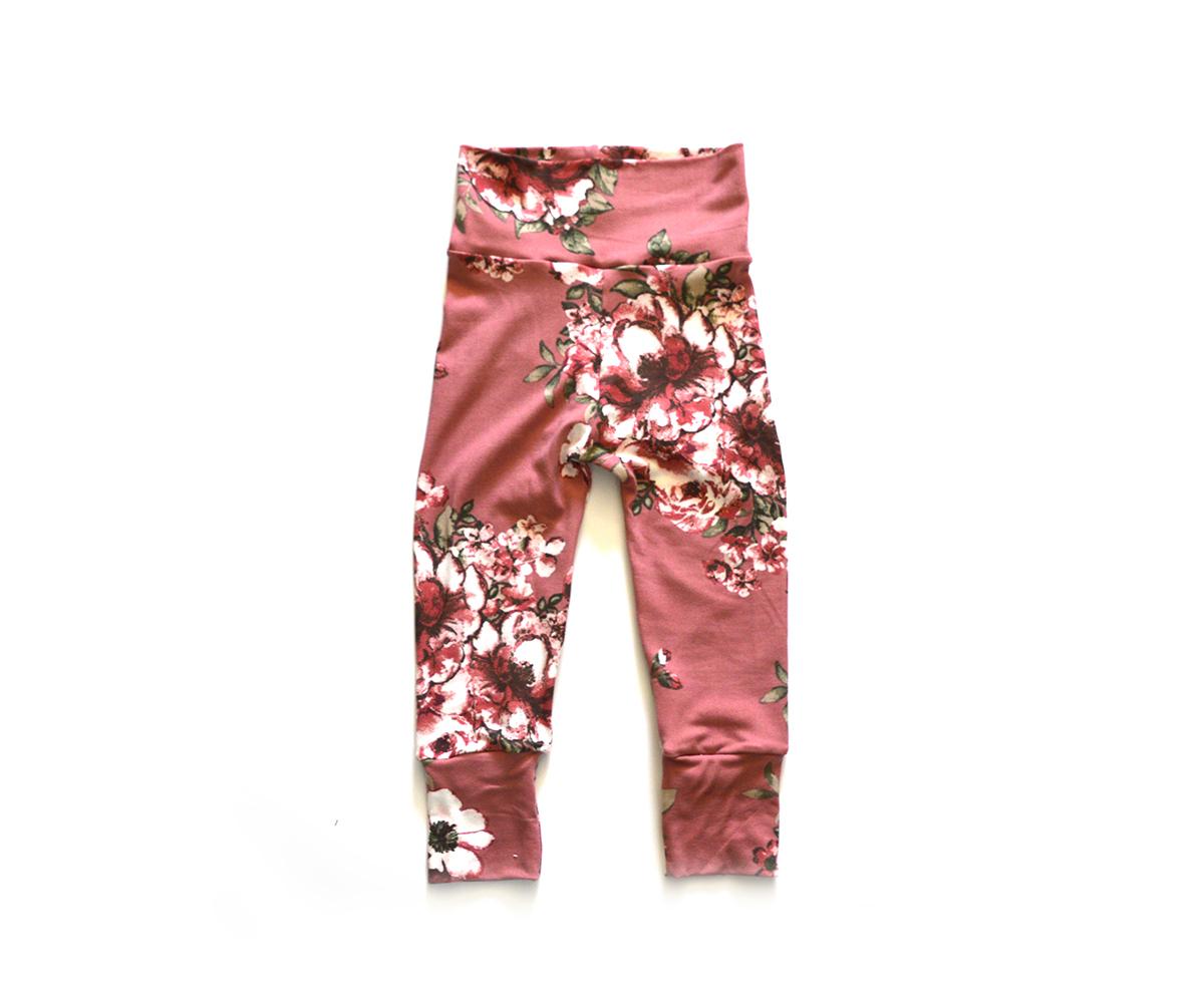 Little Sprout Pants™ Vintage Floral on Mauve 00726