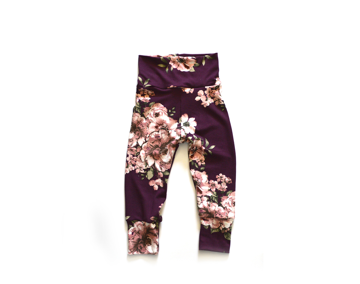 Little Sprout Pants™ Vintage Floral on Burgundy 00569