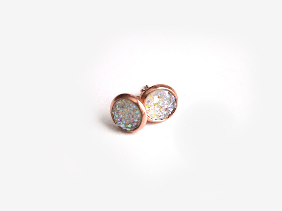 8mm White Titanium Druzy Studs on Rose Gold 00628
