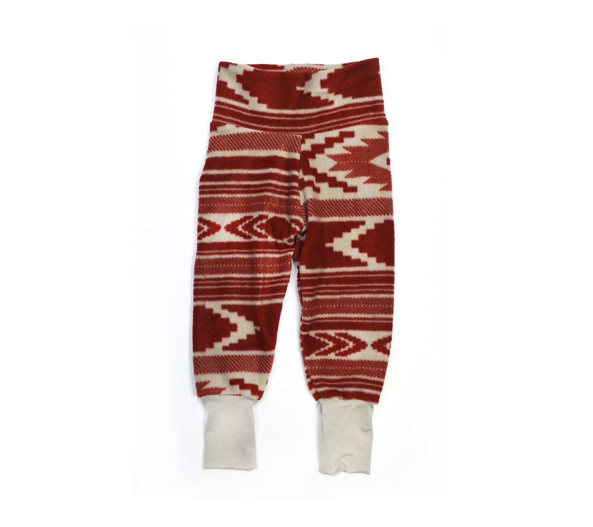 Little Sprout Pants™ Red & Tan Print - Fleece 00691