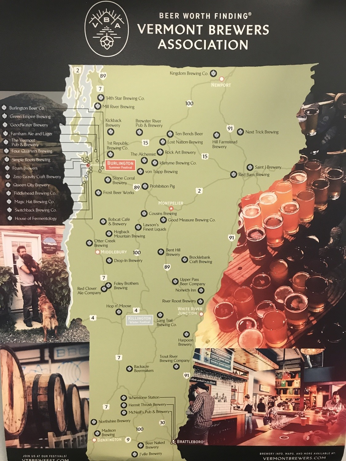 Vermont Brewers Map