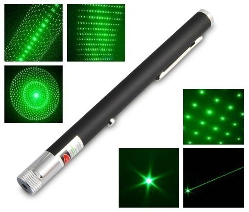Зеленый лазер 100 mW + 5 насадок 00046