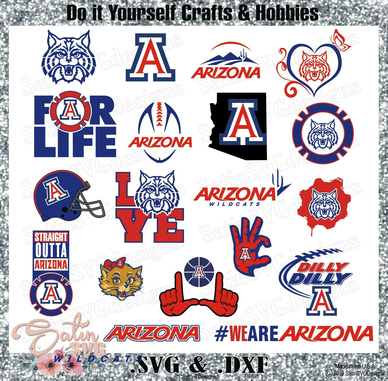 quality design b0b41 8a544 Arizona Wildcats SET Design SVG Files, Cricut, Silhouette Studio, Digital  Cut Files