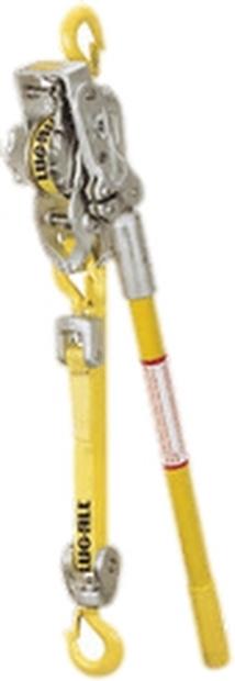 Lug-All Small Frame Web Strap Ratchet Winch Hoist, Standard Latching Hooks