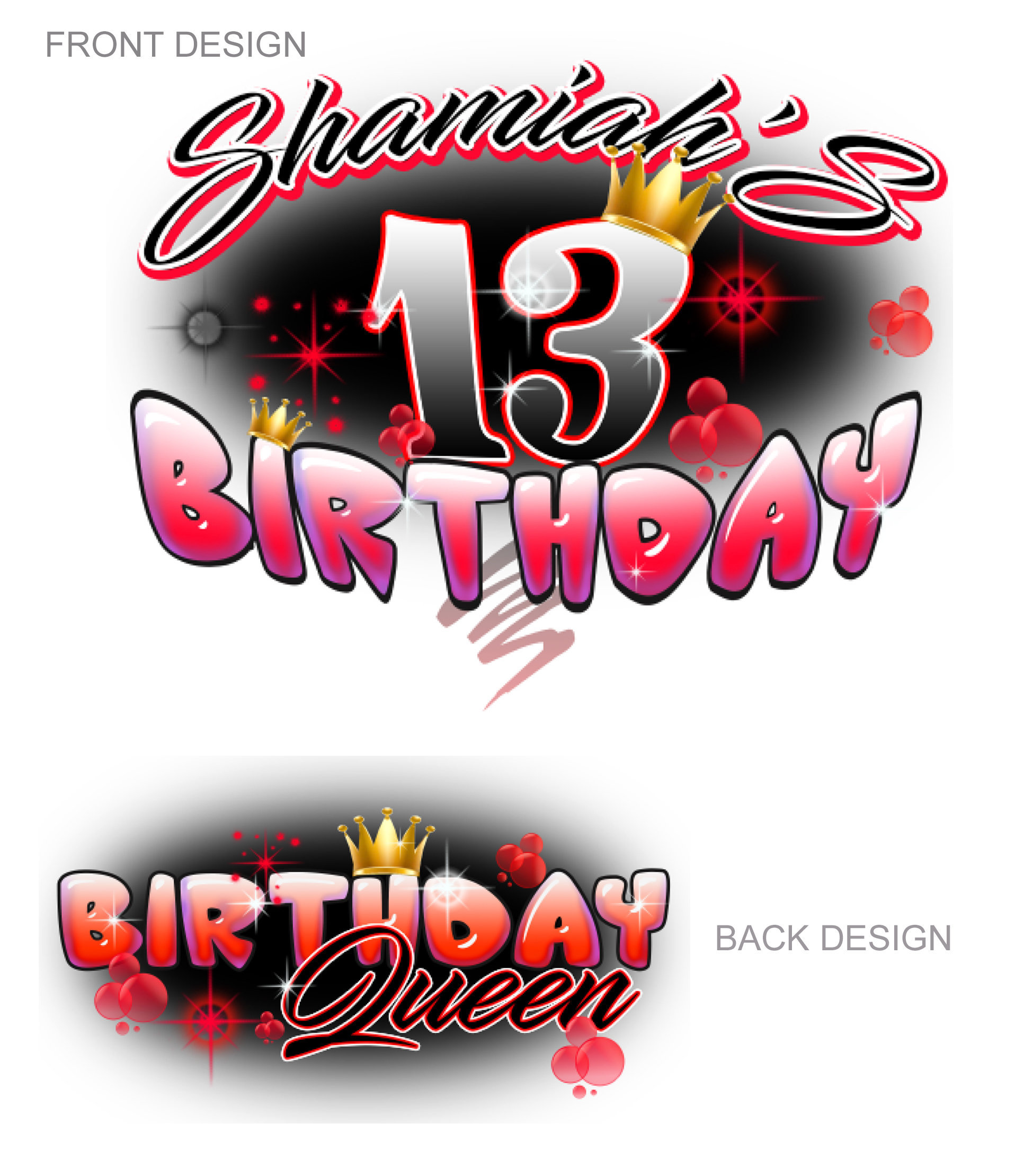 Airbrush Birthday  Red design 09811