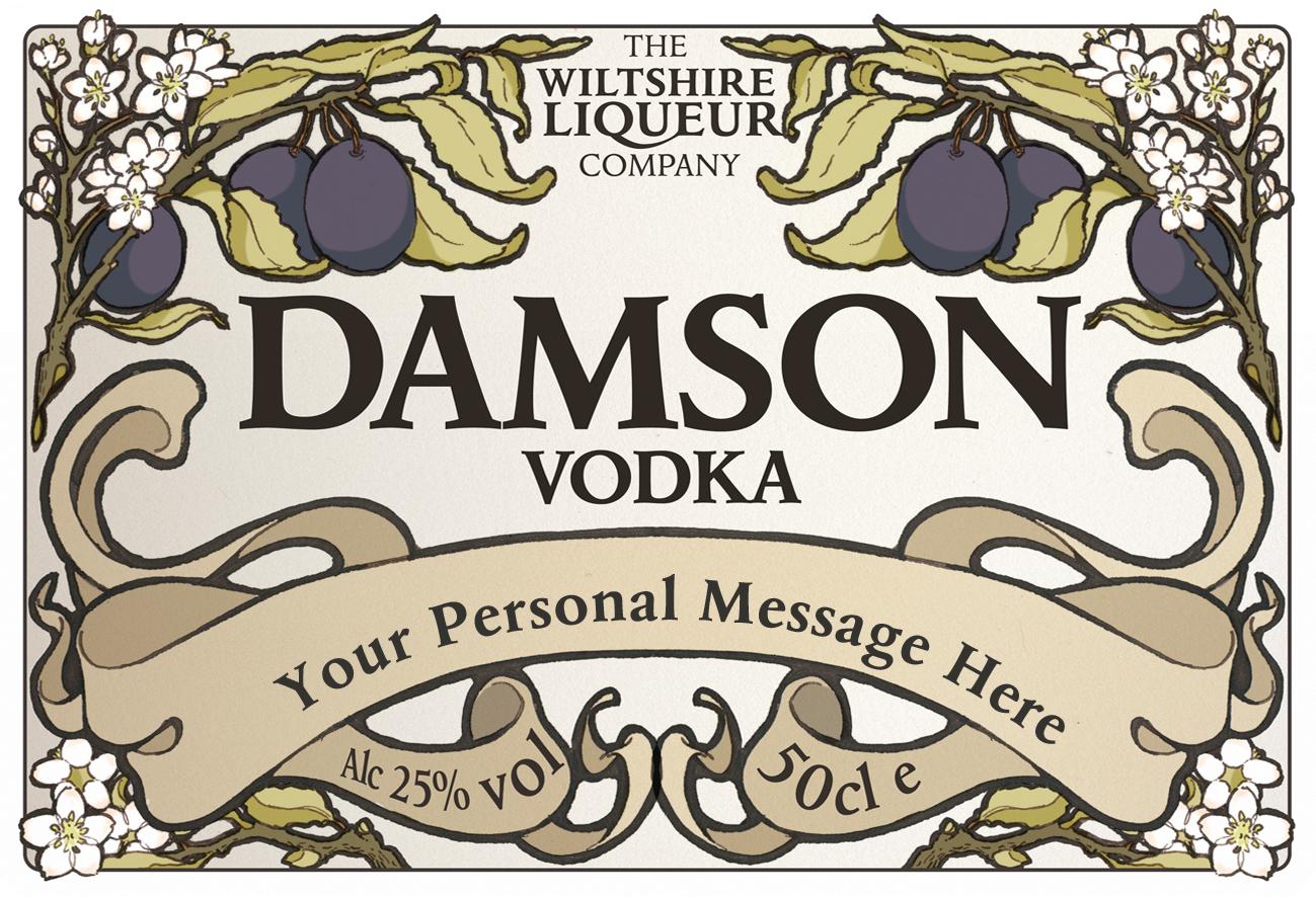 Damson Vodka Personalised Label