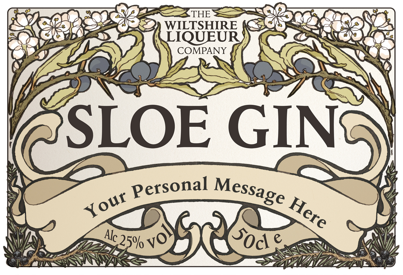 Sloe Gin personalised label