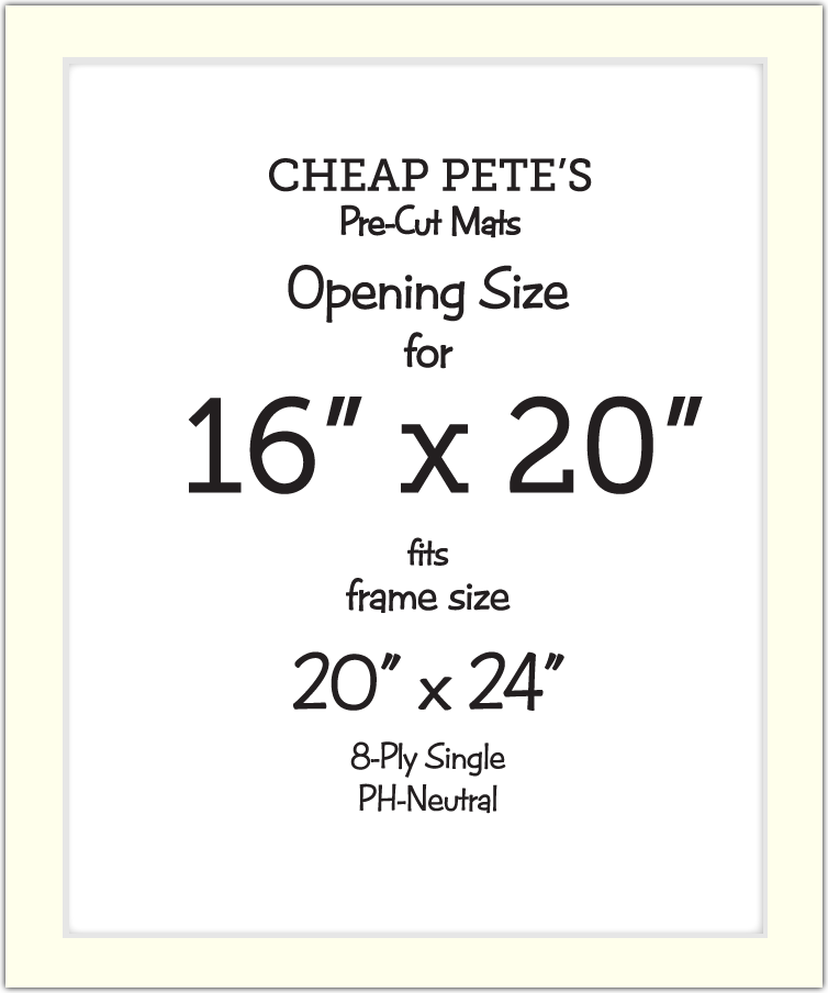 16x20 Opening for 20x24 frame 8-Ply Mat Pack | Cheap Pete\'s Frame ...