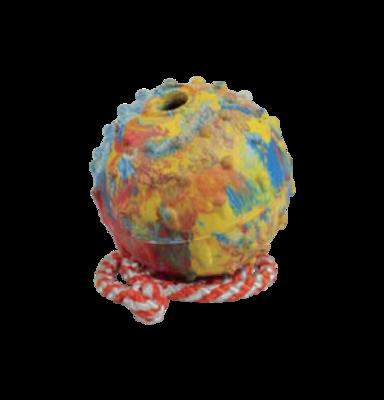 Резиновый (каучуковый) литой мяч ⌀ 7 см на верёвке 50 см.