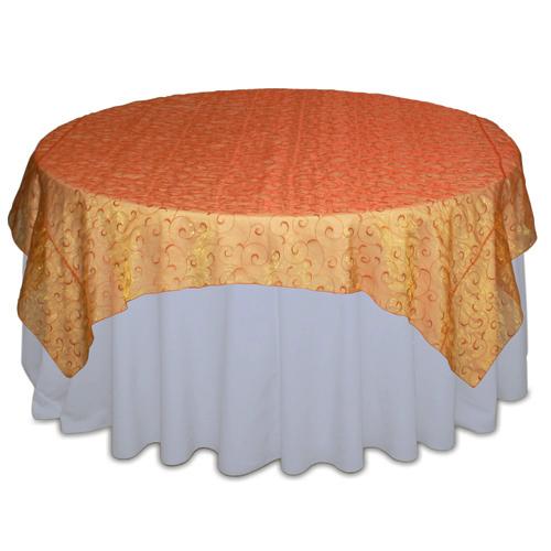 Orange Organza Swirl Table Overlay Rental Orange Organza Swirl Overlay Rental