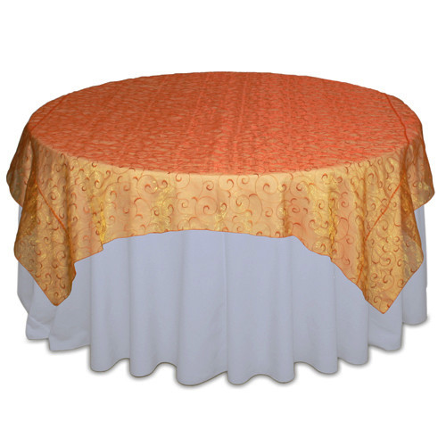 Orange Organza Swirl Table Overlay Rental