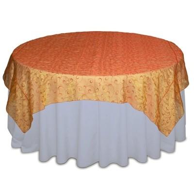 Orange Organza Swirl Table Overlay Rental