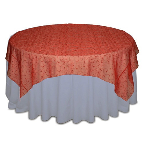 Red Organza Swirl Table Overlay Rental