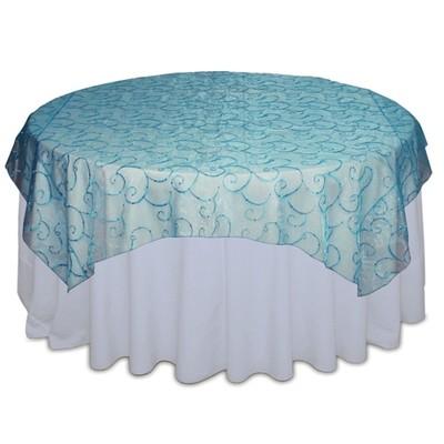 Aqua Sequin Organza Swirl Table Overlay