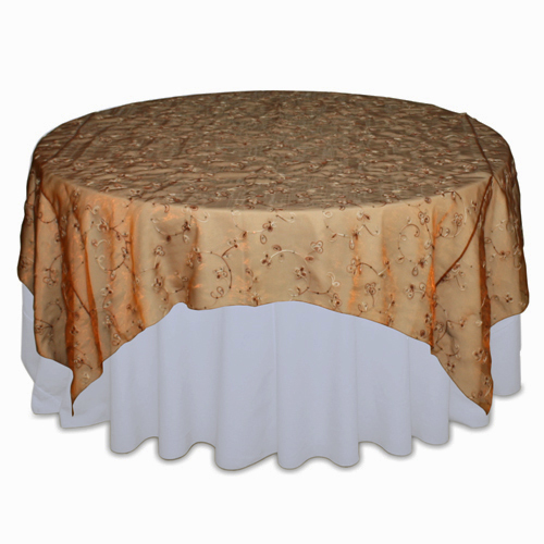 Copper Flower Organza Swirl Table Overlay 00014