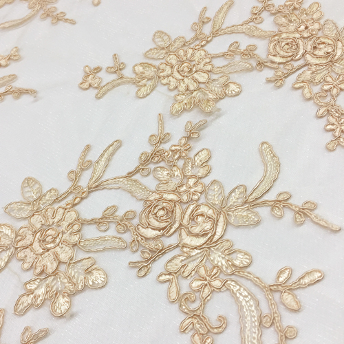Champagne Floral Lace Table Overlay