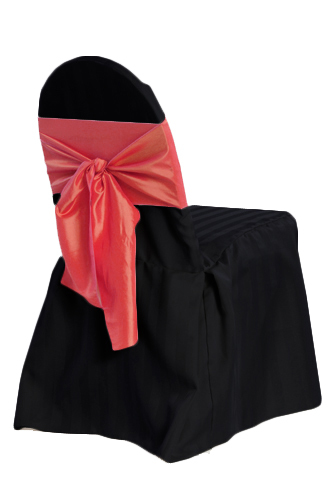Black Banquet Chair Cover - Satin Stripe Black Banquet Chair Cover - Satin Stripe