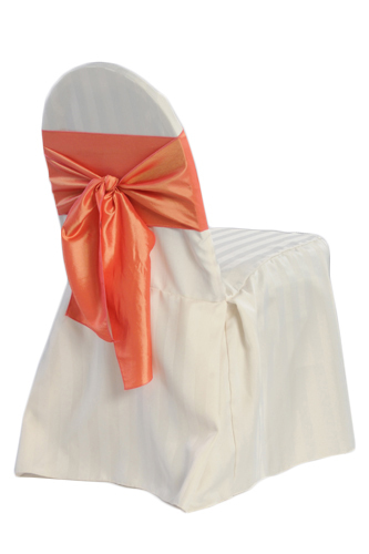 Ivory Banquet Chair Covers - Satin Stripe Ivory Banquet Chair Covers - Satin Stripe