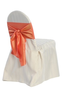 Ivory Banquet Chair Cover Rentals - Satin Stripe