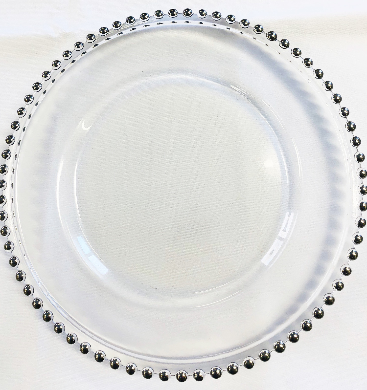 Glass Charger Plates - Silver Beaded Silver Beaded Glass Charger Plate