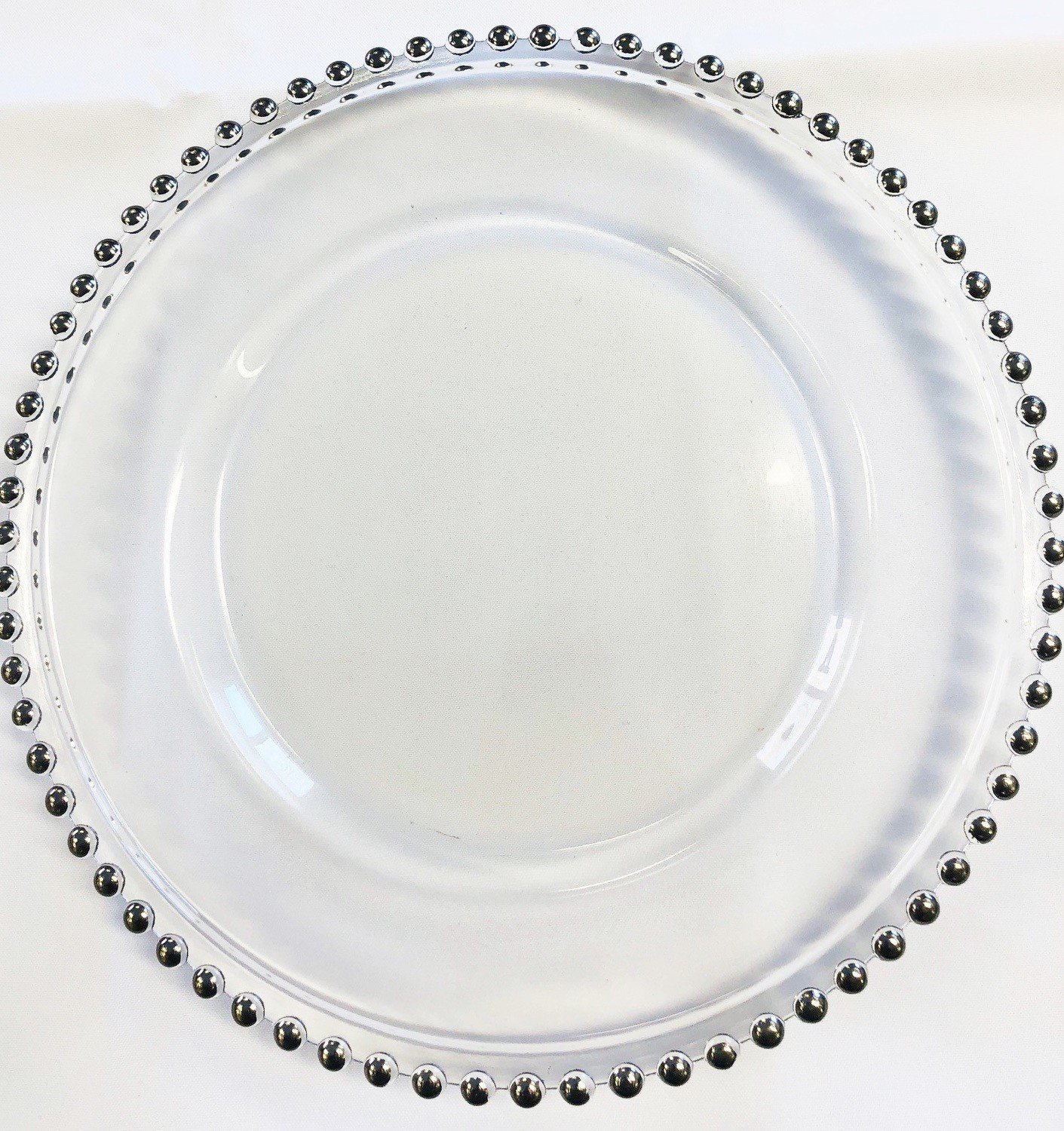 Glass Charger Plates - Silver Beaded
