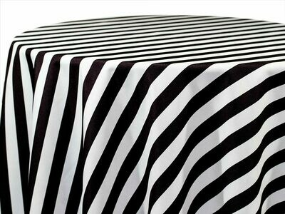 Black & White Stripe Tablecloth Rentals