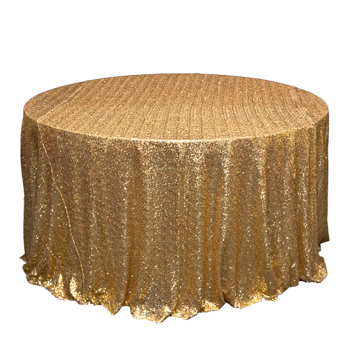 Gold Sequin Tablecloth Rentals - Mesh Gold Glitz Sequin Mesh Overlay Rental