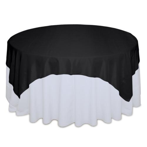 Black Tablecloth Rentals - Taffeta Black Taffeta Overlay Rental
