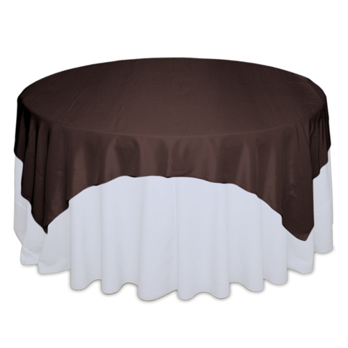 Brown Tablecloth Rentals - Taffeta Brown Taffeta Overlay Rental