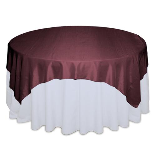 Wine Taffeta Tablecloth Rentals - Table Wine Taffeta Overlay Rental